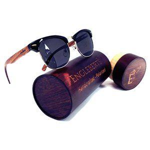 Walnut Wood Club Style Sunglasses With Case